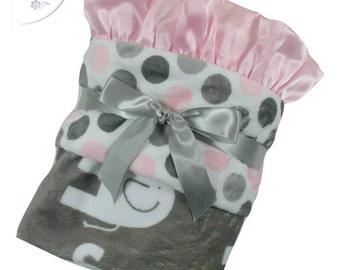 Pink and Gray Mod Polka Dot Elephant Minky Baby Blanket,  3 Sizes
