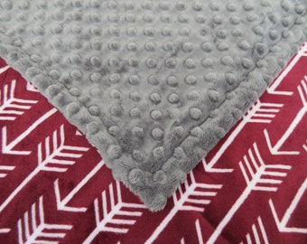 Merlot Burgundy Arrow Print With Charcoal Gray Minky Baby Blanket, In Stock Ready to Ship