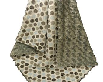Blue and Gray Mod Dot with Charcoal Gray Swirl Polka Dot Minky Baby Blanket