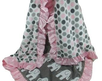 Pink Gray Elephant Blanket Minky Fabric with Satin Ruffle