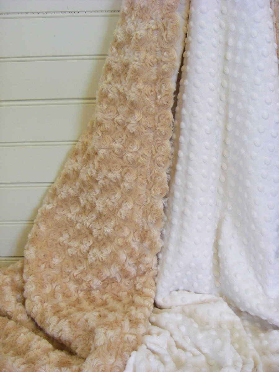 4a402d3656 Caramel Rose Swirl and Ivory Cream Minky Baby Blanket