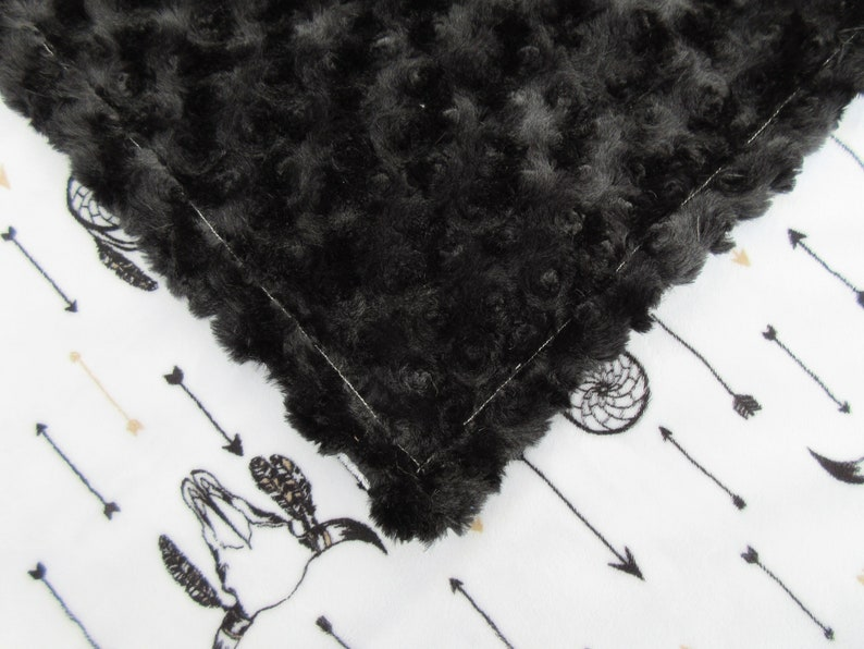 Dreamcatcher Black and White Minky Baby Blanket In Stock Ready to Ship