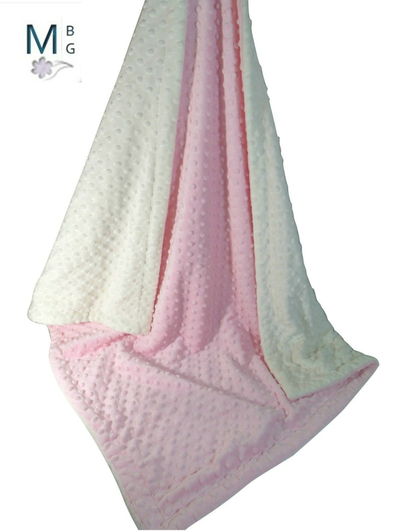 Pink Minky Dot Baby Blanket Pink and Cream Minky Baby image 0