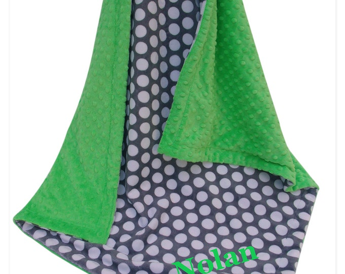 Lime Green and Gray Mod Dots Minky Baby Blanket, three sizes