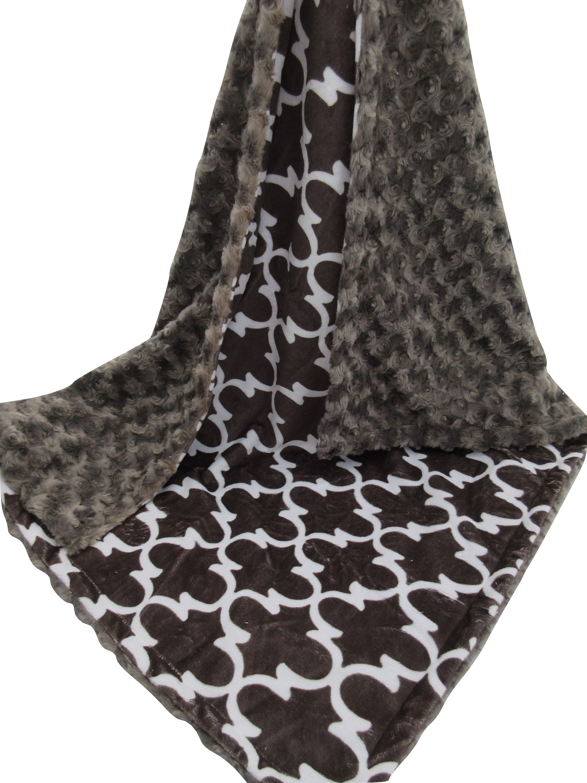 Charcoal Quatrefoil with Rose Swirl Minky Blanket, Modern Minky