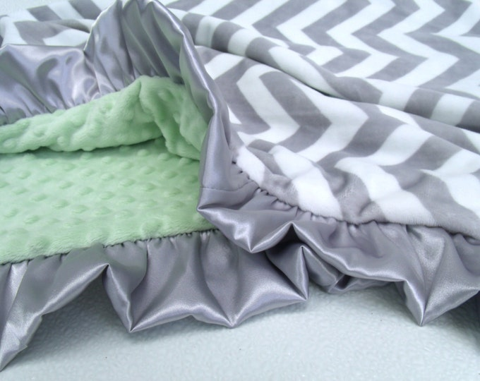 White Gray Chevron with Sage Mint Green Minky Baby Blanket - Adult Blanket