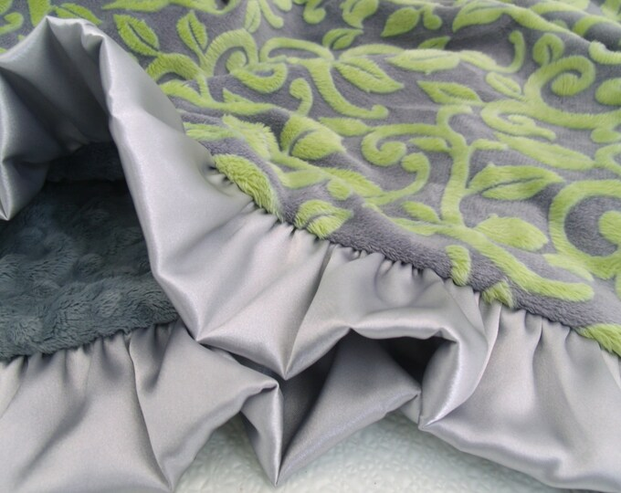 Yellow and Gray Vine Minky Baby Blanket - for adults, teens, and toddlers too