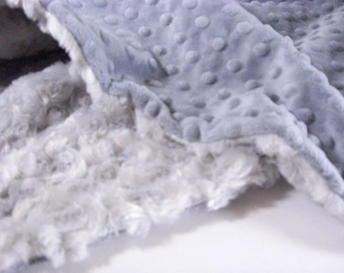 Charcoal Gray Minky Dot and Light Silver Swirl Minky Baby Blanket