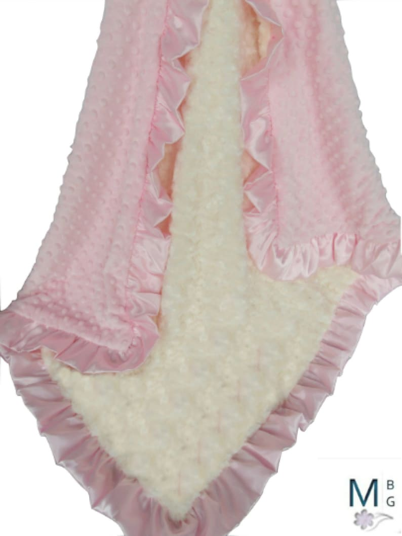 Pink and Cream Minky Baby Blanket  Ivory Rose Swirl  and Pink image 0