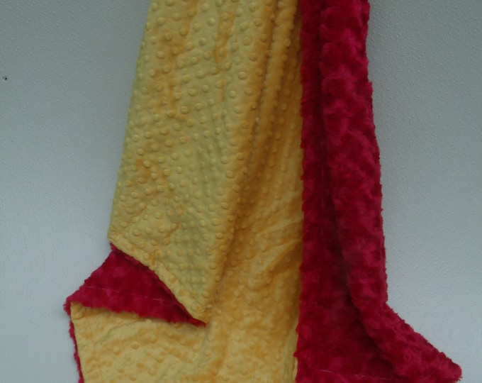 Yellow and Red Minky Baby Blanket