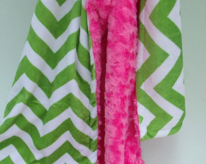 Apple Green Chevron and Fuchsia Swirl Minky Baby Blanket for Baby Girl