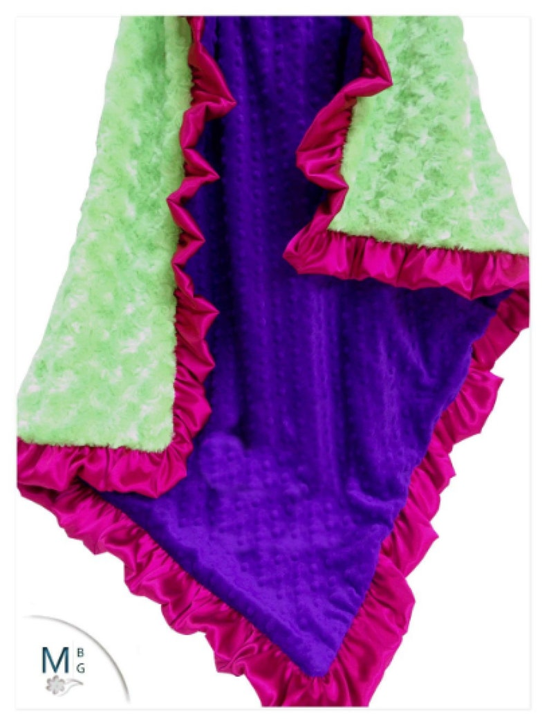 Bright Lime also for toddler or teens Purple and Hot Pink Baby Girl Blanket