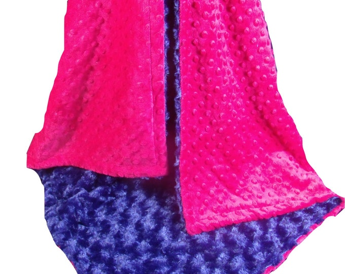 Fuchsia Pink Minky Dot with Navy Blue Rose Swirl Baby Blanket, Pink and Blue Blanket, , available in thee sizes