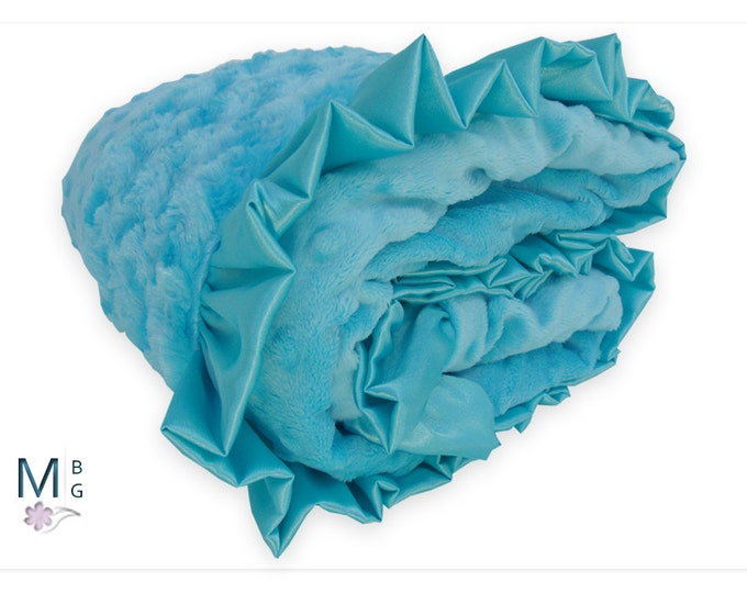 Aqua Minky Baby Blanket, Light Turquoise minky Baby Blanket, available in three sizes