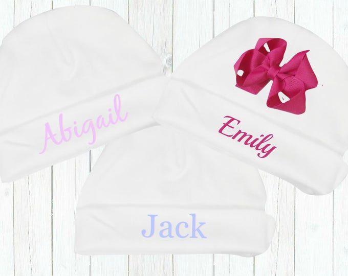 Personalized Newborn White Cotton Knit Hat with or Without Bow, Embroidered Coming Home Hospital Hat