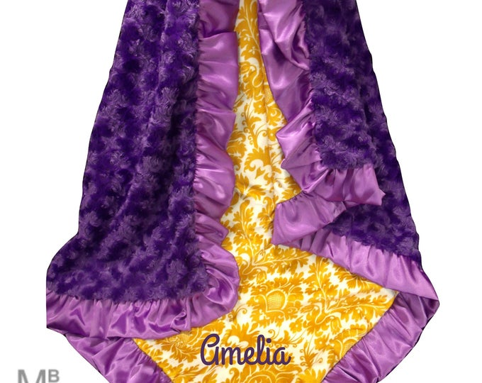 orchid Purple Rose Swirl and Gold Damask Minky Baby Blanket, Personalized Swaddle Blanket