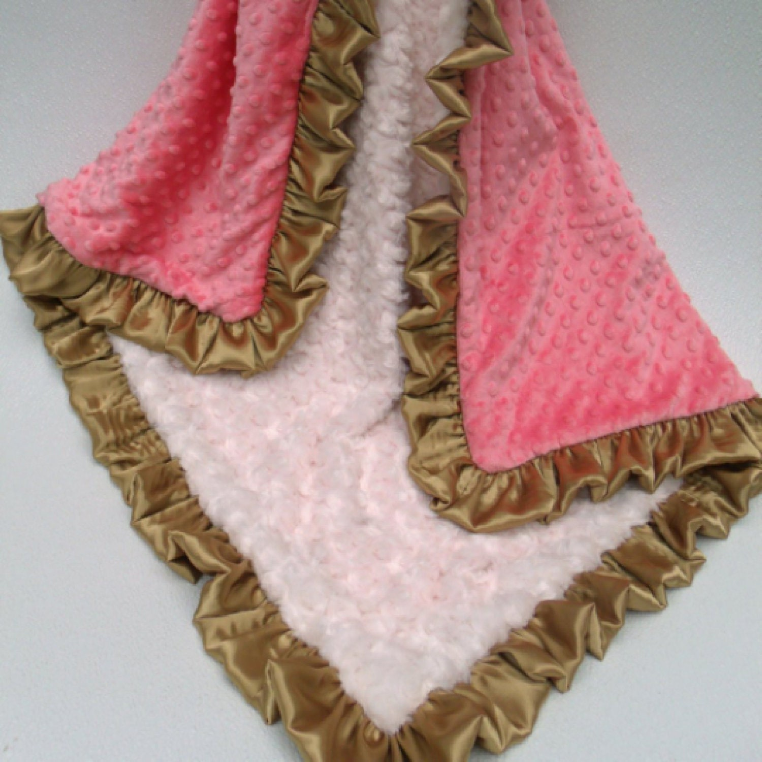 Cream Gold And Coral Pink Dot Minky Baby Blanket