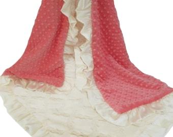 Coral and Ivory Cream Plush Lattice Minky Baby Girl Blanket