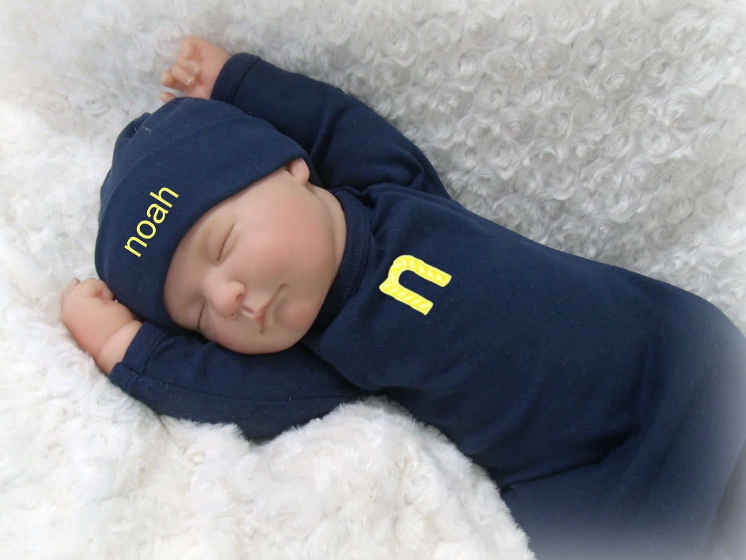Personalized Navy Baby Gown, Alphabet Applique Baby Boy Coming Home ...