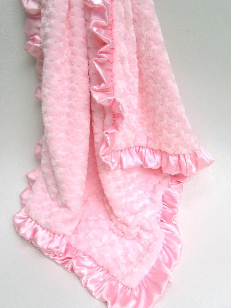 Matching pink ruffle Pink Rose Swirl Minky Blanket