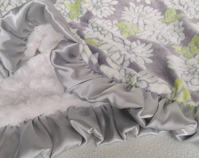 Chartreuse Yellow Rose Swirl Minky Baby Blanket
