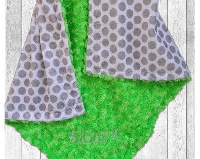 Personalized Green Gray Polka Dot  Minky Baby Blanket