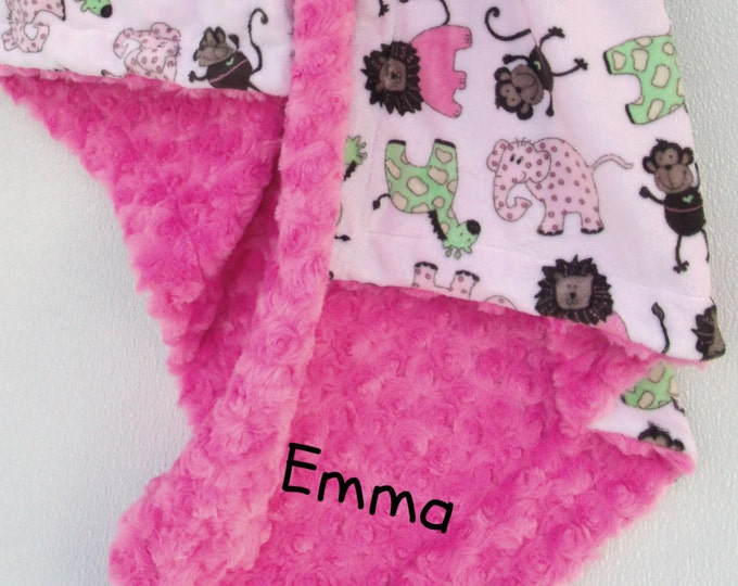 Jungle Print Minky Baby Blanket, Elephant Baby Blanket, Baby Girl Minky Blanket