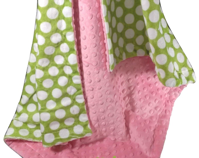Hot Pink Minky Dot with Lime Green and White Polka Dots for baby, Lime and Pink Baby Blanket