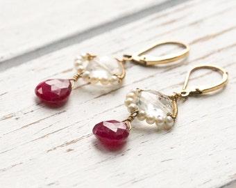 Ruby Pearl Earrings