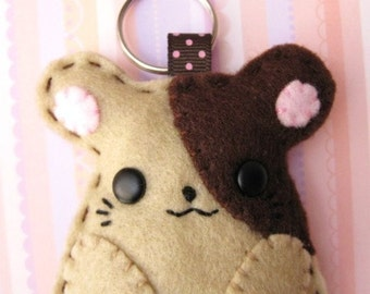 FREE SHIPPING -- Animal Felt Keychain - Hammie the Hamster
