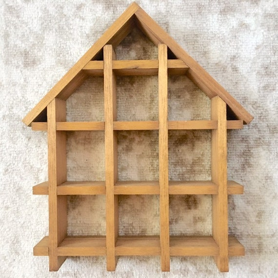 Vintage Wood House Shaped Curio Shelf Wooden Display Shelves Wall Hanging Standing Shelving Small Little Rustic Ready To Paint