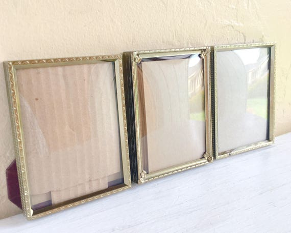 Vintage Gold Metal Picture Frames with Convex Bubble Glass 3