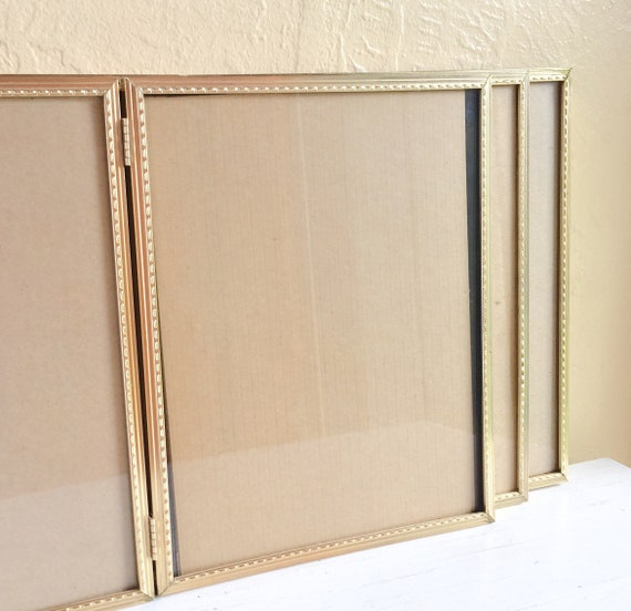 Three 3 Matching Folding 8x10 Gold Metal Picture Frames With Etsy
