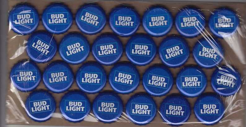 100 blue Bud Light undented beer bottle caps