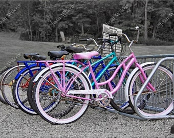 Bikes Vintage Style Bicycles Black & White Color Splash Fine Art Photography Photo Print