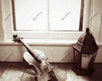 The Conservatory Window to Music Violin Bow and Lantern Still Life Sepia Tone Original Fine Art Photography Wall Art Photo Print