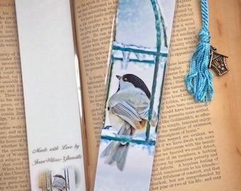 Chilly Chickadee Wild Bird & Feeder Winter Ice Storm Early Spring Bookmark w/ Birdhouse Charm Fine Art Photography Photo Laminated Bookmark