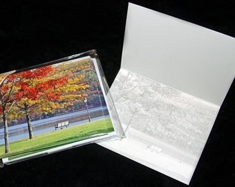 Note Cards, 5, 10 or 20 Pack Autumn Park Bench w/ Envelopes