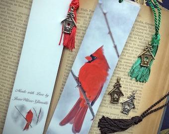 Laminated Snowy Red Cardinal Male Bird Photo Bookmark w/ Antique Bronze Birdhouse Charm