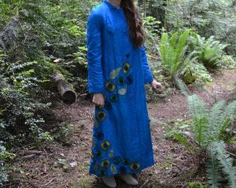Peacock Coat in Silk Upcycled Vintage