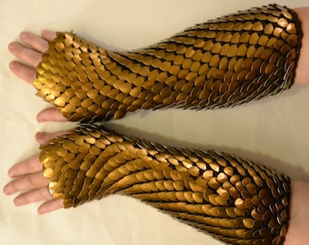 Scale Maille Armor Dragonhide Knitted Gauntlets Bronze