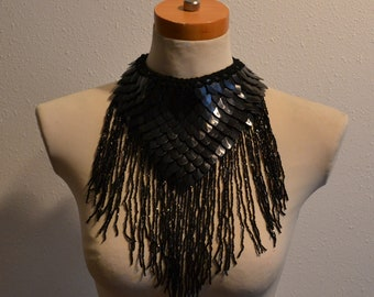 Black Dragonhide Choker with Glass Bead Fringe Knit Armor Dragonscale