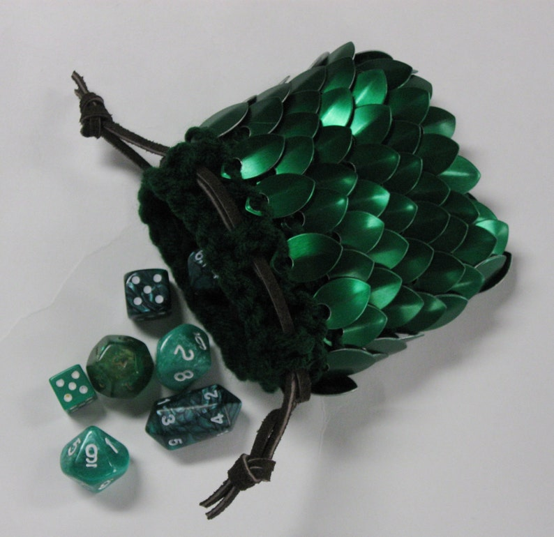 Scalemail Dice Bag Dragonhide Knitted Armor  Elven Ranger image 0