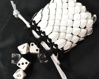 Scalemail Dice Bag Dragonhide Knitted Armor  White size small