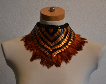 Halloween Choker Orange and Black Scales with Feathers Knitted Scalemail Costume Accessory