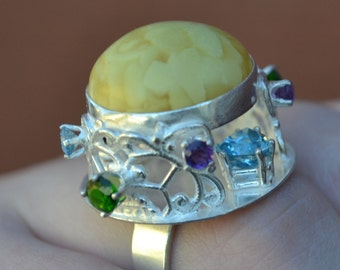 Amber Pagoda Ring with Amethyst, Blue Topaz and Chrome Diopside in Sterling Silver Statement Ring Cocktail Ring