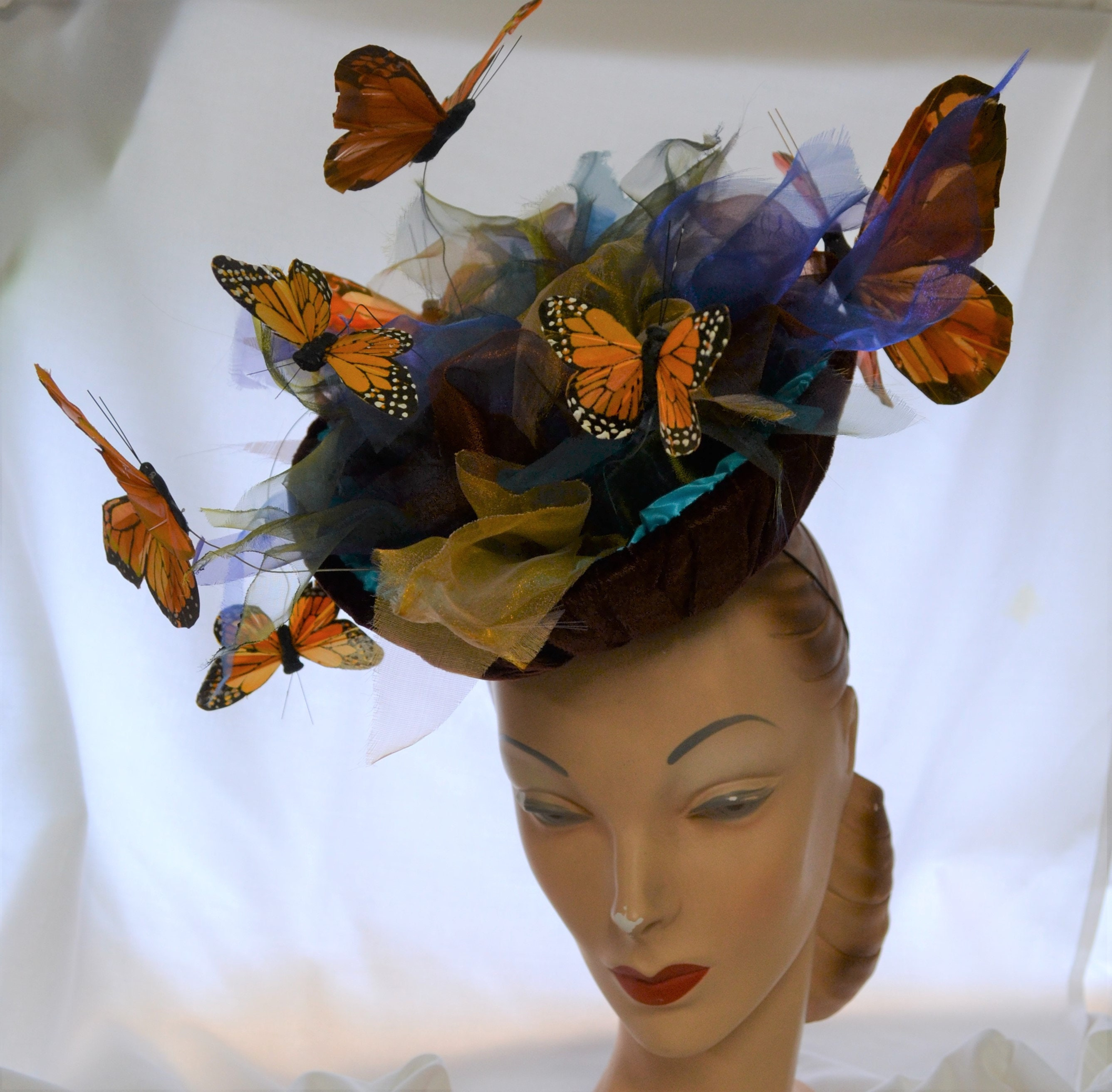 Butterfly Hat Hand blocked covered buckram with velvet, charmeuse, organza  and butterflies