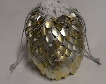 Scalemail Dice Bag of Holding Knitted Dragonhide Extra Large Chaotic Good