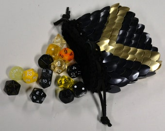 Scale Armor Dice Bag of Knitted Dragonhide by Crystal's Idyll