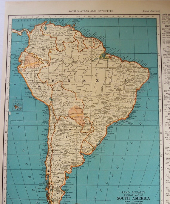 South america 1939 vintage atlas map venezuela old maps as gumiabroncs Image collections
